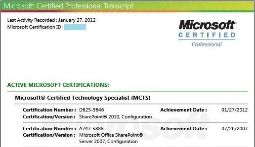 Certifié Microsoft SharePoint 2010 Configuration