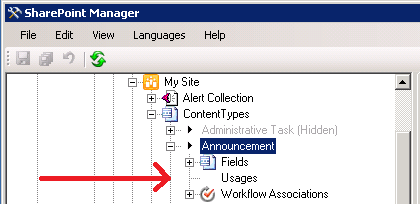 Usages d'un type de contenu dans SharePoint Manager.