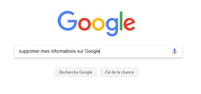 Supprimer mes informations sur Google