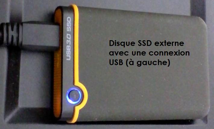 Sauvegarde sur un disque externe SSD