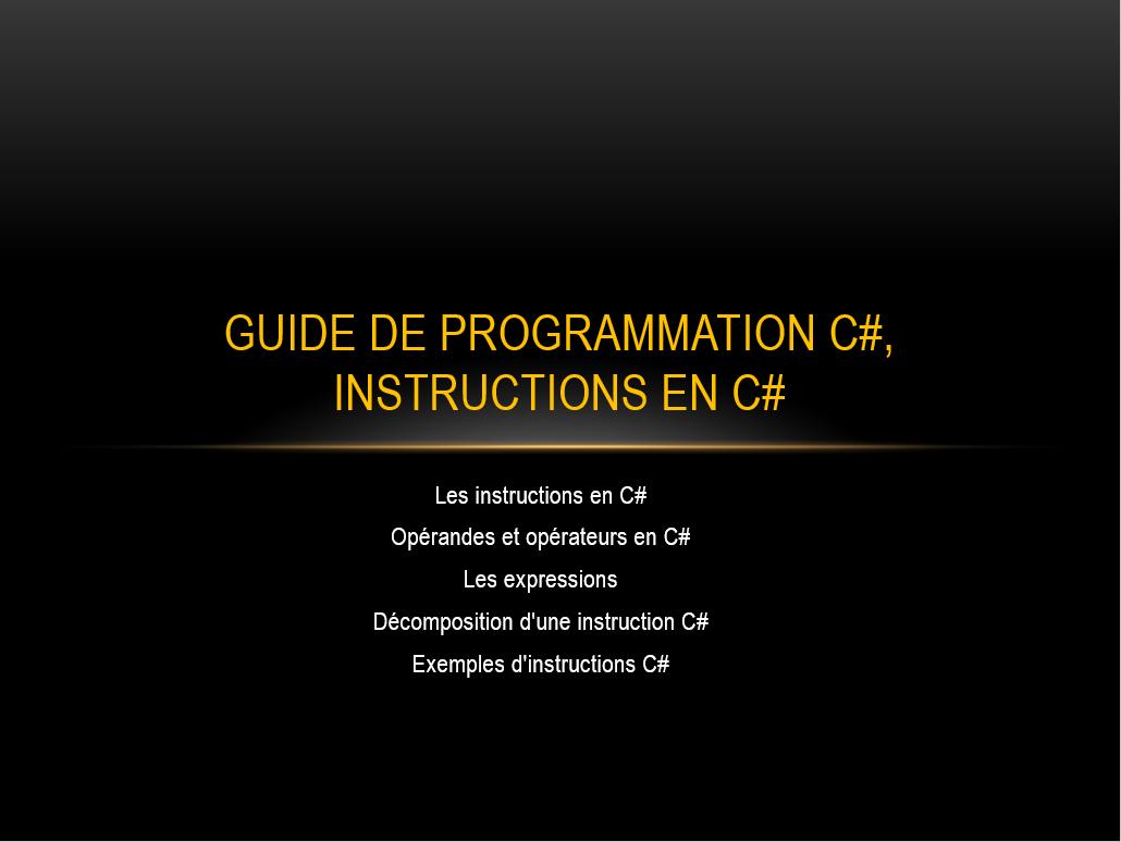 Instructions ASP NET