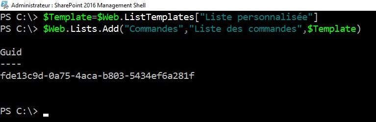 Commandes PowerShell SharePoint - Liste personnalisée